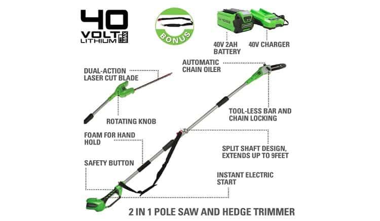 Greenworks 40V 8-inch Cordless Pole Saw