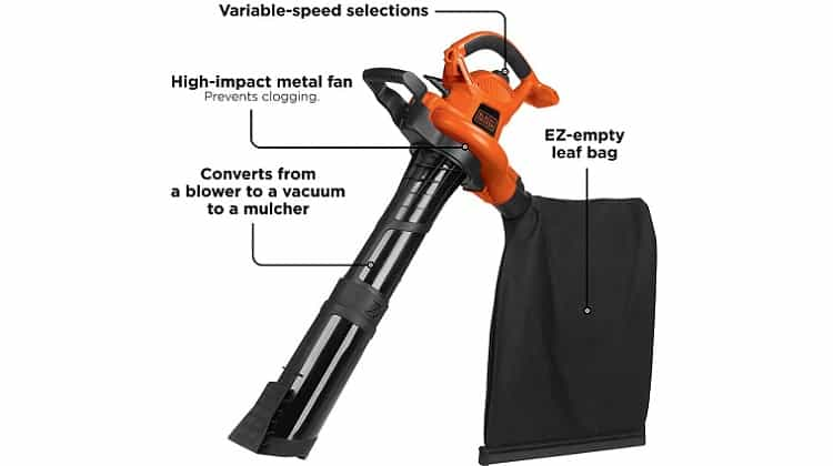 BLACK+DECKER 3-in-1 Electric Leaf Blower, Leaf Vacuum, Mulcher - Best Handheld Mulcher